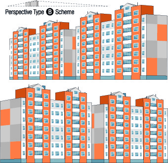 skyscraper design scheme vector set
