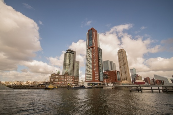 skyscrapers at the port of rotterdam