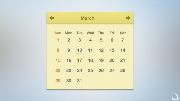 Sleek Flat Calendar