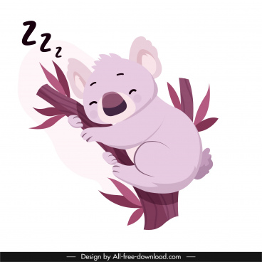 sleeping koala icon cute cartoon character sketch