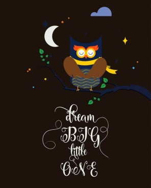 sleeping owl background colored cartoon design calligraphic decoration