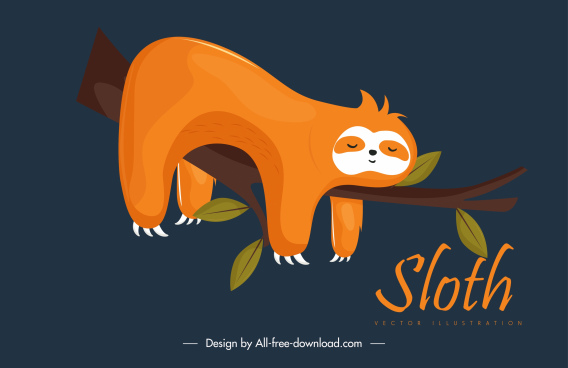 sleeping sloth painting cute colored cartoon character