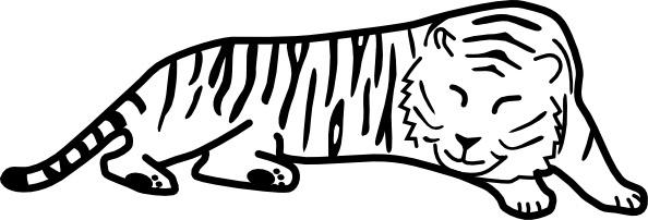 Sleeping Tiger Outline clip art