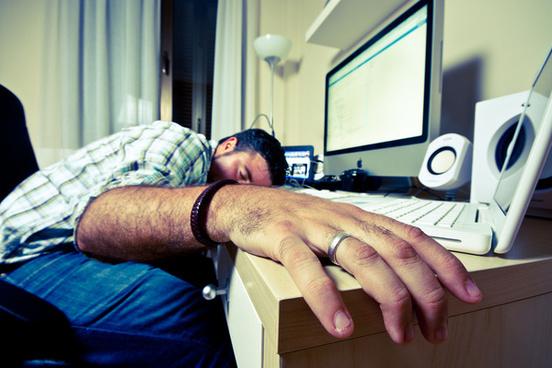 sleeping worker