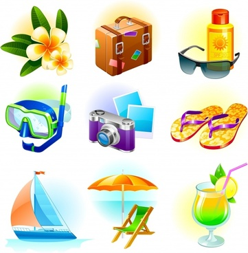 beach vacation design elements colored 3d symbols