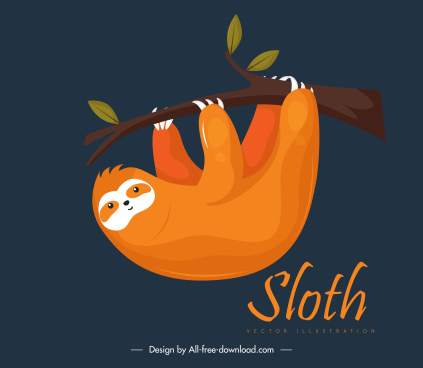 sloth animal painting dark classic design climbing gesture
