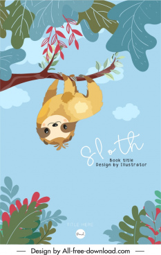 sloth book cover template cute handdrawn cartoon sketch