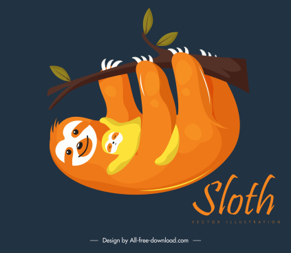 sloth family painting lovely design cartoon sketch