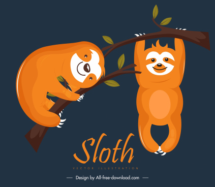 sloths icons climbing gesture cute cartoon characters sketch