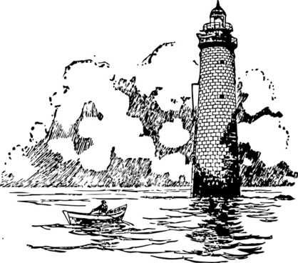 Small Boat Rowing Beside Lighthouse clip art