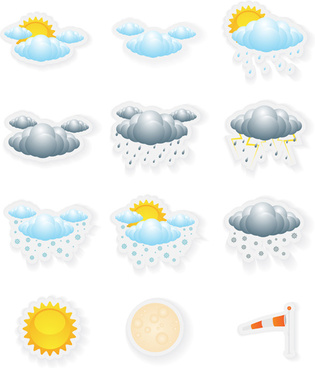 small fine weather icons vector