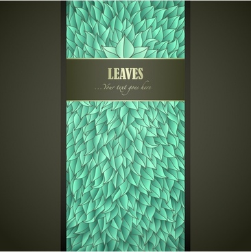 decorative cover background template green thick leaves sketch