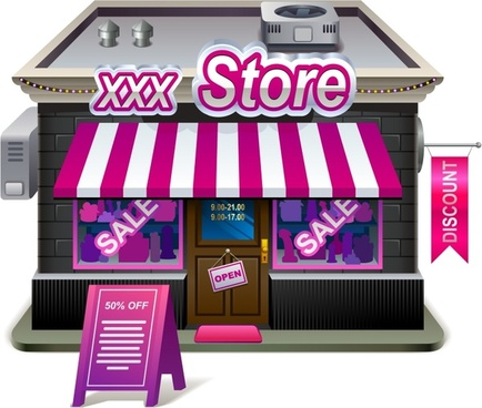 small shops supermarket grocery store house vector