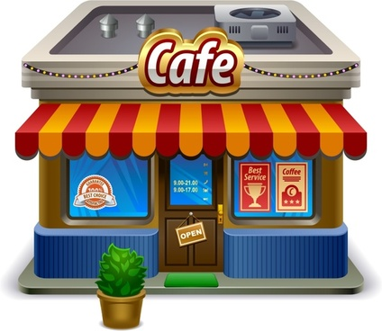 small shops supermarket shop building vector