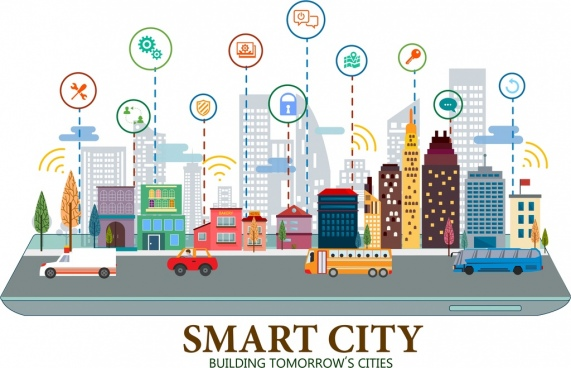 smart city poster buildings internet interface icons decor