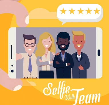 smartphone advertising background selfie team icon cartoon design