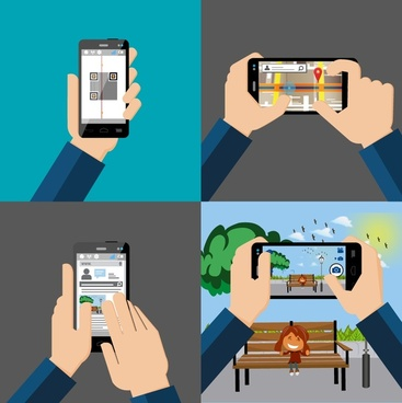 smartphone application concepts isolated with practice hands