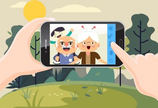 smartphone selfie advertisement human screen icons cartoon design