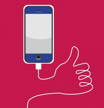 smartphone vector illustration with thumb up shape line