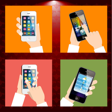 smartphones in hand vector illustrations with retro frame