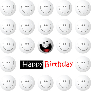 smile face happy birthday card vector