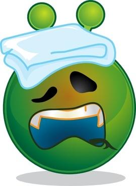 Smile Green Alien Sick clip art