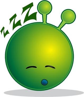 Smile Green Alien Sleepy clip art