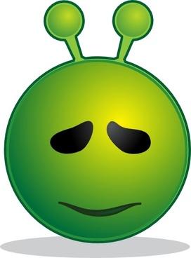 Smile Green Alien Sorry clip art