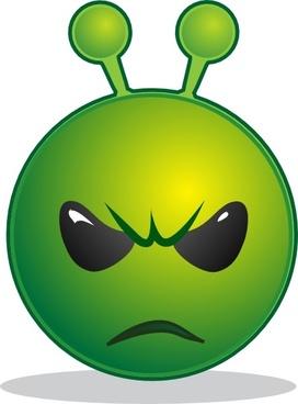 Smile Green Alien Unhappy clip art