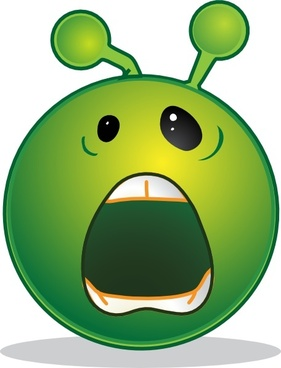 Smile Green Alien Whaaa clip art