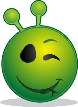 Smile Green Alien Wink clip art