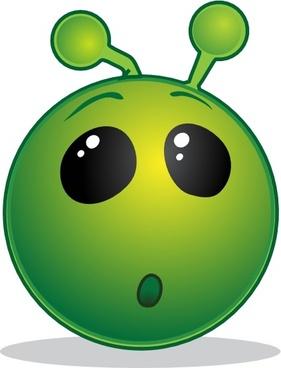 Smile Green Alien Wow clip art
