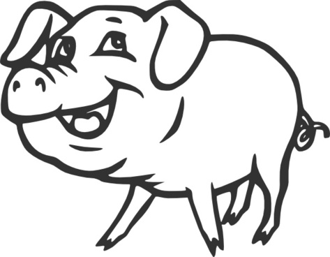 Smiling Pig clip art