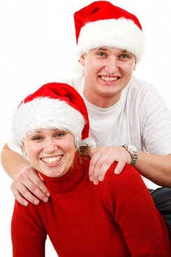 smiling santa couple