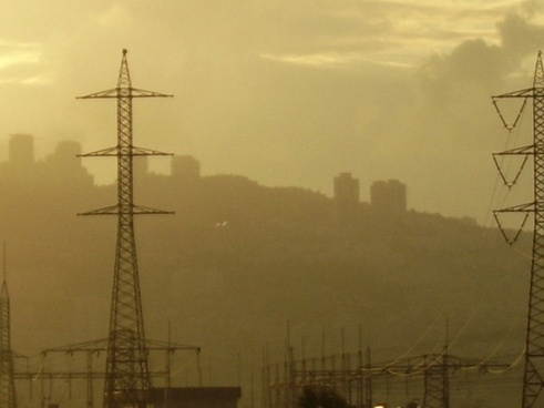 smog and electric lines