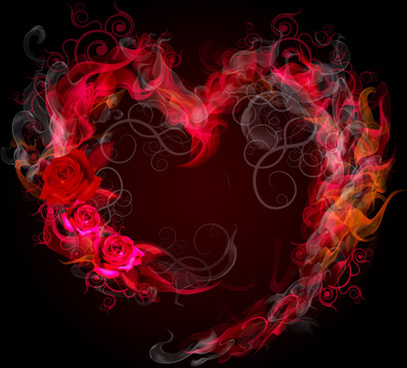 smoke hearts with rose vector