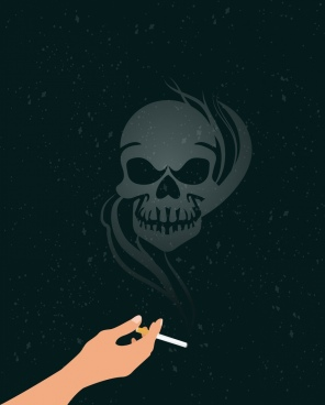 smoke warning poster skull smoke cigarette icons