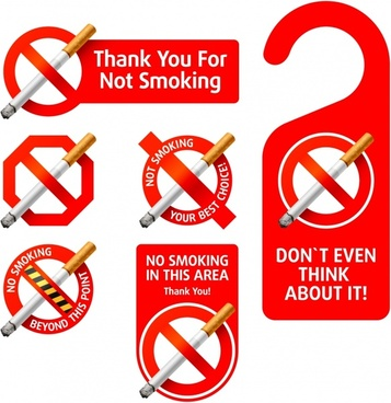 nonsmoking tags templates colored 3d realistic design