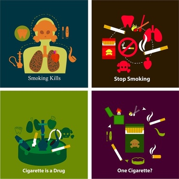 smoking warning banners illustration with various symbols