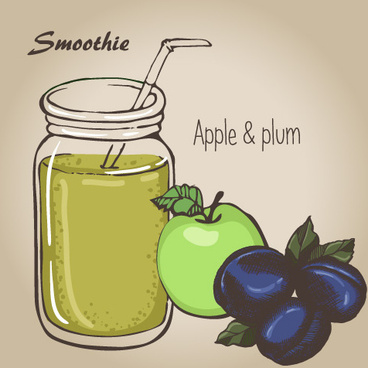smoothie fruits drink vector sketch