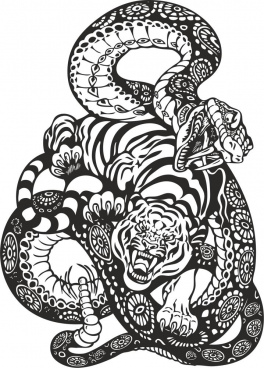 snake and tiger fight free cdr vectors art