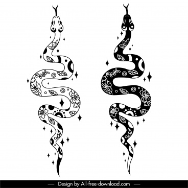 snake icons black white flat classical handdrawn design