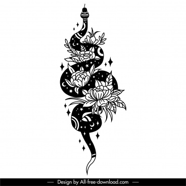 snake tattoo template black white design floral decor