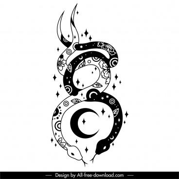 snakes tattoo template black white flat classic design