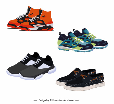 sneakers shoes icons modern colorful decor