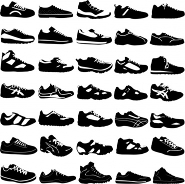 man sneakers templates black white silhouette design