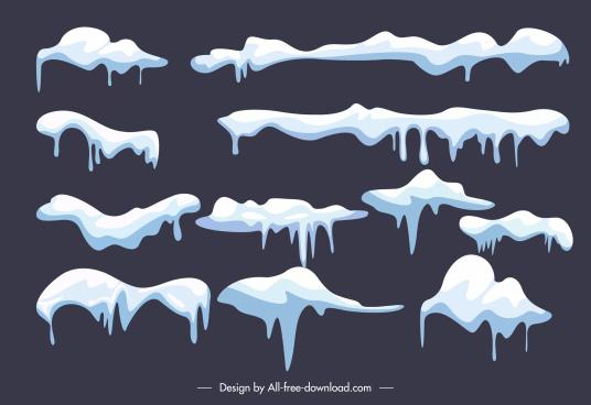 snow cap design elements flat melting shapes