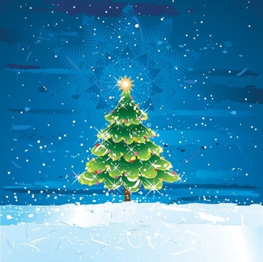 snow christmas tree vector