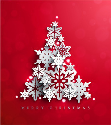 snow christmas tree with red background vector