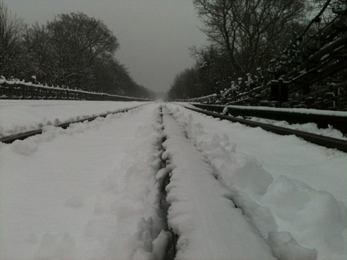 snow covered underground track